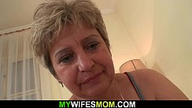Old motherinlaw wakes him up for taboo sex