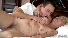 Young guy watches a masturbating granny