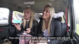 Two blonde angels sharing cock in fake taxi passed out creampie