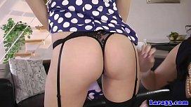 Heeled british milf spanking and fingering