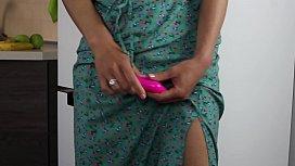 Green flowered dress and small purple vibrator - Russian Slut Sasha Bikeyeva