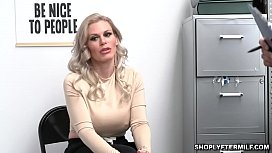 LP Officer strips Casca Akashova and makes her sit on his horny cock