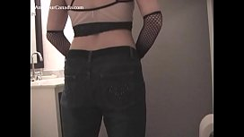 Redhead fake blowjob tease during party dare striptease dressup