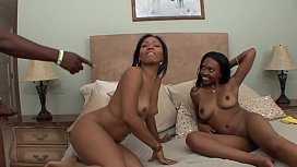 Black sluts D'Vae and Anita Peida share black dudes cock getting their pussy rammed