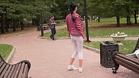 Thin white tight leggings and sheer blouse&hellip_ Did you check out my cameltoe _)?