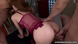 Submissive Asian babe Aimi Ichijo toyed and fucked doggy style