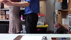 Ebony teen cutie caught stealing from her dads store
