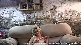 teen blonde doing her first naked dildo video in her step moms illinois basement