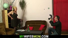 Hairy blonde granny riding son in law'_s cheating cock