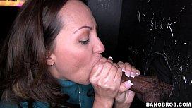 Glory Hole Slut going to Work on Black Cocks