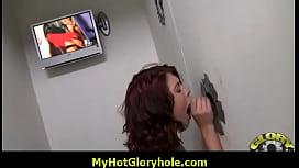 Gloryhole dick sucking - Interracial Blowjob Video 17