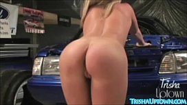 Trisha Uptown Gets Dirty With Big Toys Under Car