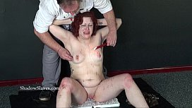 Knees on ice punishment and hot waxing of chubby amateur slave girl Isabel Dean