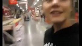 Horny teen gilrfriend sucking in a public store