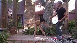 Master fucks hairy pussy raven haired slave