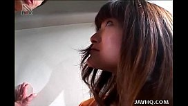 Cute japanese chick Karoi Houjou jerks off a dude uncensored