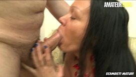 AMATEUR EURO - Italian Brunette Fabiana B. Fucked By Mature Guy