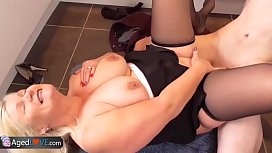Mature milf fucked by a young boy!!