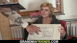 Very hot grandma double fuck