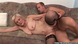 Grandma in stockings gets a facial xxx video
