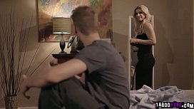 Cheater MILF India Summer caught by her horny stepson with someone else so he blackmailed her to fuck her mature pussy and filled her face with cum.