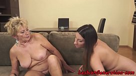 Hairy granny pussylicking busty lesbian