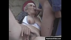 Old slut getting screwed right there in public