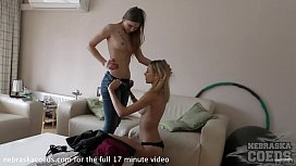 young amanda and ieva girl girl fun on the couch