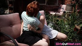 Cute hairy lesbians lick each other outdoors