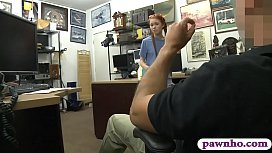Skinny redhead babe drilled by pawn guy at the pawnshop