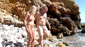 Blonde mom double penetrated on rocks by the sea & totally cum covered