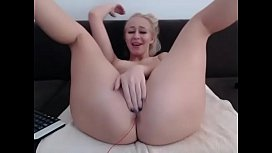 Horny blonde slut fucked pussy with fingers and cum