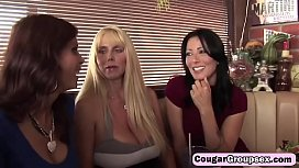 Three horny cougars sharing long dong on couchat-hd-2