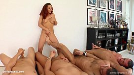 Blowbang group blowjob given by Lia Diamond on Cum For Cover