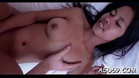 Thai cutie takes off her raiment and undies to go hardcore