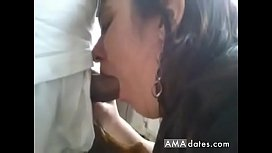 Chubby brunette eats a small prick