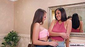 Lesbian babe licks straight friends ass