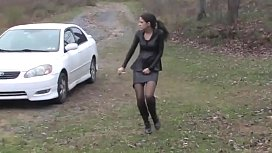 Bursting To Pee In Car, Sexy Girl Relieves Herself Outside Her Houae xxx image