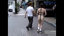 Crazy Japanese public nudity walk of shame with subtitles porn vid