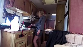 Blond wife hardcore banged in a camper
