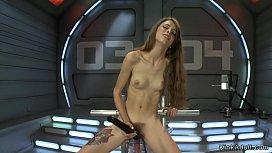 Skinny hairy babe riding machines