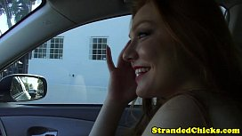 Stranded redhead teen pays driver with sex