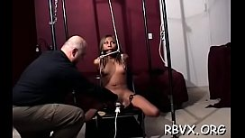 Ballgagged doxy gets aroused during the time that playing with herself