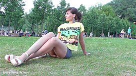 Jeny Smith no panties upskirt public flash