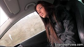 Gorgeous sexy babe Gina gets fucked in the car by the strangers big dick sex image