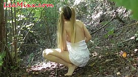 Horny girl caught in forest and forced sex image