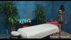 Horny client seduce masseur girl riding him