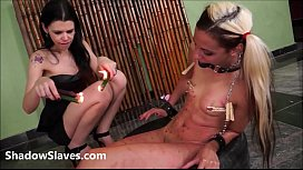 Extreme lesbian domination and hot wax punishment of teen latina slave Gi