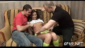 Babe'_s chaste bawdy cleft is bleeding from hardcore threesome