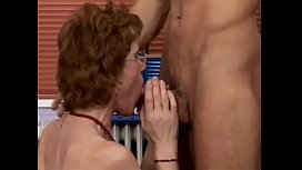 Red haired hairy granny gets a good humpin'_